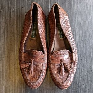 Cole Haan woven leather tassle loafers
